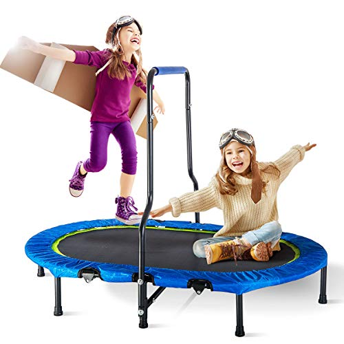 - Merax Mini Rebounder Trampoline with Handle for Two Kids, Parent-Child Trampoline (Blue Cover)