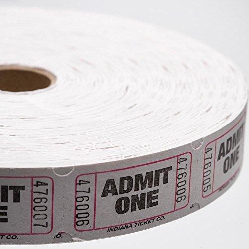 White Admit One Ticket Roll Admit One Ticket Roll