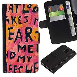 All Phone Most Case / Oferta Especial Cáscara Funda de cuero Monedero Cubierta de proteccion Caso / Wallet Case for Samsung Galaxy S5 Mini, SM-G800 // Heart Quote Text Letters Pink Love Pink