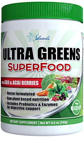 Super Greens - Amazing Green Superfood Grass Powder Wheatgrass Athletic Super Food - Perfect To Mix In Drink and Smoothie