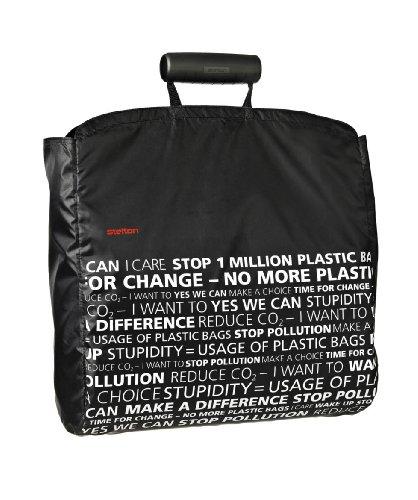schwarze Handtasche mit verzierten Motiven