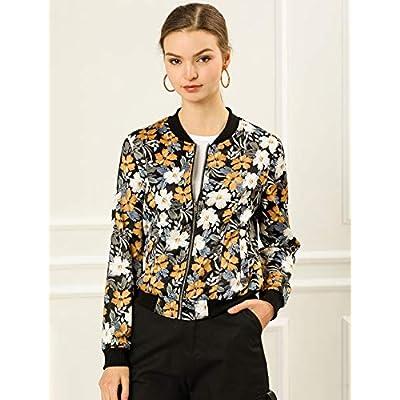Allegra K Women's Stand Collar Zip Up Floral Prints Bomber Jacket: Clothing