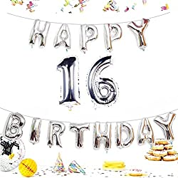 KIYOOMY Number 16 Balloon Giant Jumbo Foil Mylar Number Balloons Happy Birthday Foil Letter Balloons for Sweet 16 Birthday Party Decorations (Number Balloon 40'', Letter Balloon 16'', Silver)