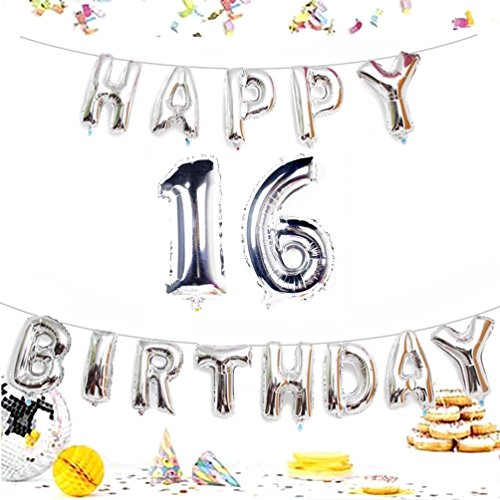 KIYOOMY Number 16 Balloon Giant Jumbo Foil Mylar Number Balloons Happy Birthday Foil Letter Balloons for Sweet 16 Birthday Party Decorations (Number Balloon 40'', Letter Balloon 16'', -