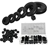 KINWAT 180pcs Rubber Grommets Set Round Grommet Gasket Kits for Protects Wire Cable Hose Rubber Seal Assortment Set Hardware Tools