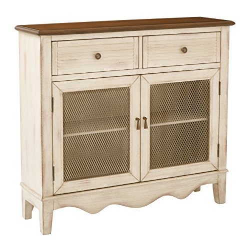INSPIRED by Bassett Lambert Hand Painted Storage Console, Antique Rustic Beige by Inspired by Bassett