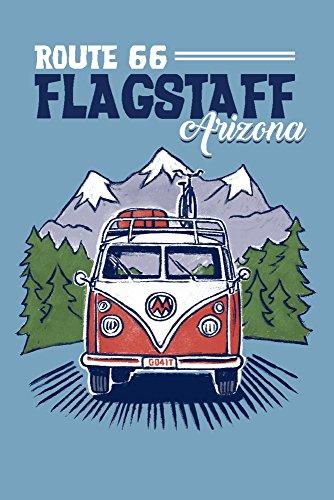 (Flagstaff, Arizona - Route 66 - Cartoon Camper Van Driving (9x12 Art Print, Wall Decor Travel Poster))