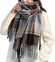 Women Tartan Scarf - Winter Long Scarves Plaid Warm Wraps Wool British Style for Ladies Spinning Tassel Shawl