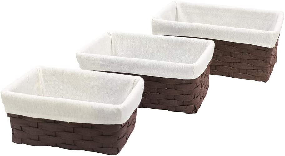 HOSROOME Handmade Bathroom Storage Baskets Set Shelf Baskets with Liner Woven Decorative Home Storage Bins Decorative Baskets Organizing Baskets Nesting Baskets(Set of 3,Brown)