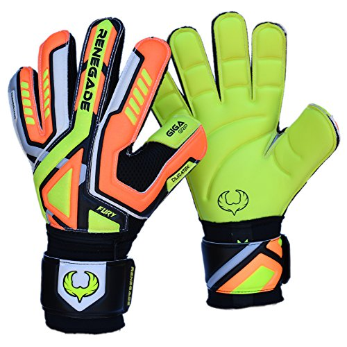 Fury Volt Soccer Youth Goalkeeper Gloves Flat Gecko Cut with GK Grip (Size 9 - Medium, Black) with Pro Finger Saves - Latest Football or Futsal Goalie Gear - Adult, (Flat Keepers)