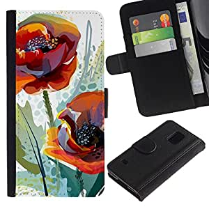All Phone Most Case / Oferta Especial Cáscara Funda de cuero Monedero Cubierta de proteccion Caso / Wallet Case for Samsung Galaxy S5 V SM-G900 // Poppy Flower Watercolor Orange Green
