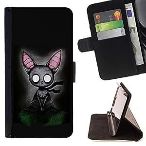 Jordan Colourful Shop - cat grey feline witch fairytale art big ears For Samsung Galaxy S5 V SM-G900 - < Leather Case Absorci????n cubierta de la caja de alto impacto > -