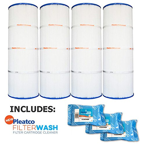Pleatco Cartridge Filter PCC80-PAK4 Pack of 4 Pentair Clean & Clear Plus 320 R173573 w/ 3x Filter Washes by Pleatco