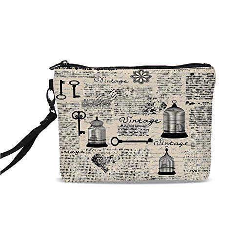 Old Newspaper Decor Simple Cosmetic Bag,Grunge Pattern with Bird Cages Keys Heart Shapes and Flower Decorative for Women,9