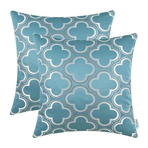 CaliTime Pack of 2 Throw Pillow Covers Cases for Couch Sofa Home Decoration Modern Cute Quatrefoil Chain Geometric 18 X 18 Inches Teal Gray White