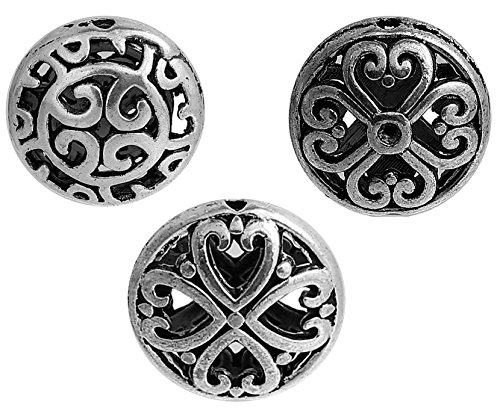 (Round Spacer Beads, 30 Pack, 16mm Silver Tone, Filigree Antique Look, 1.2mm Hole)