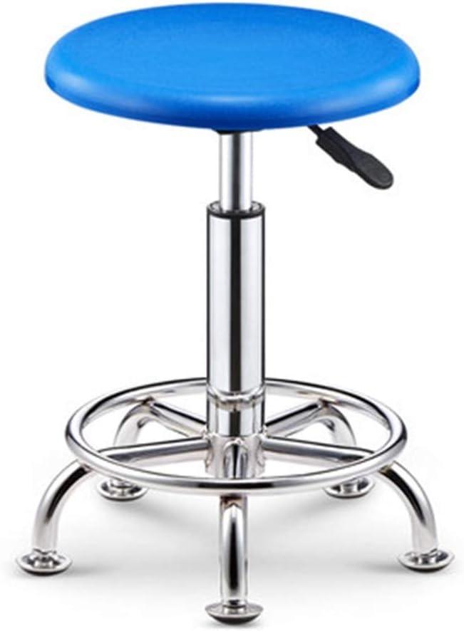 AHUAA Moderne Rotary Tabouret de Bar, Siège relevable Rond avec Base de poulie for Salon, Massage, Usine, Magasin (sans Dossier, Noir) (Color : Black) Blue