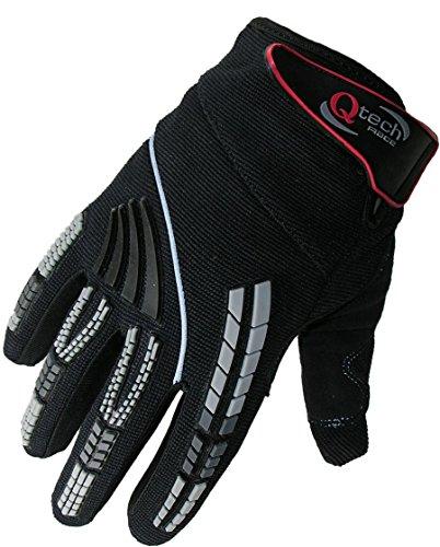 Qtech - Kinder Motocross-Handschuhe - Schwarz - XS (ca. 10-12 Jahre