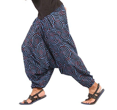 Mens Womens Boho Hippie Baggy Cotton Harem Pants with Pockets- Spiral Design (Blue)]()