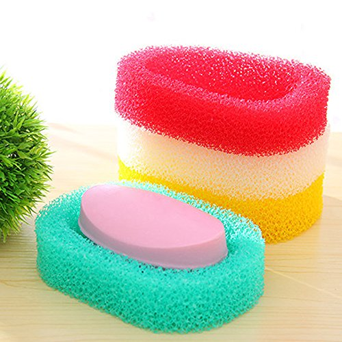 JD Million shop 1 pcs Sponge Soap Dishes Box Bathroom Absorbent Easy Dry Soap Holder Tray Bathroom Kitchen Creative Mesh Sponge Soap Dish MS064