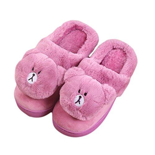 CYBLING Womens Winter Cute Slipper Plush Cartoon Panda Bedroom Shoes Soft Sole Purple XhD09aHk2B