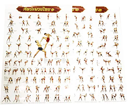 Thai JJ Mart Learning Poster Muay Thai Introductory to Advanced Techniques .with 200 Defensive and Counter Attacking Styles One Set Contain 3 Parts. Extra Offer: Buy One Set get Two