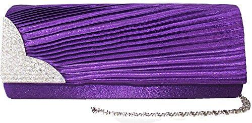 Clutch Bag Handbag Purple Satin Diamante Wedding Diamante Chain Evening 5q4fwStv