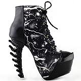Show Story Black Punk Lace-Up High-top Bone High Heel Platform Ankle Boots,LF80621BK40,9US,Black