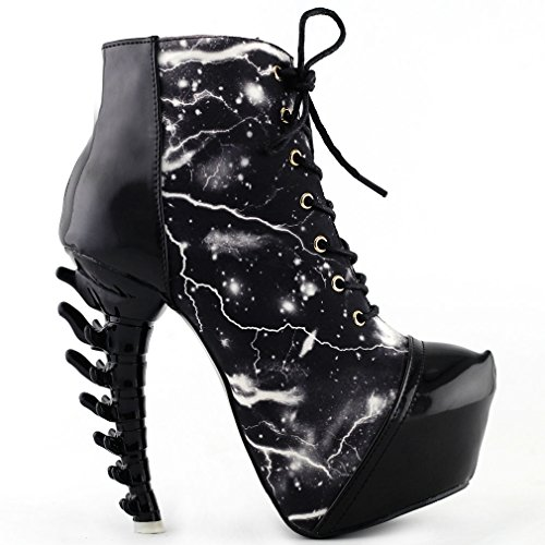 Show Story Black Punk Lace-Up High-top Bone High Heel Platform Ankle Boots,LF80621BK40,9US,Black