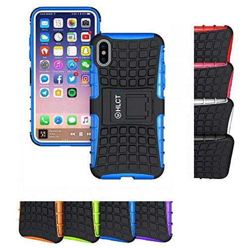 Price comparison product image iPhone Xs Stand Case, iPhone X Stand Case, HLCT Rugged Shock Proof Dual-Layer Case with Built-in Kickstand for iPhone Xs/X (Blue)