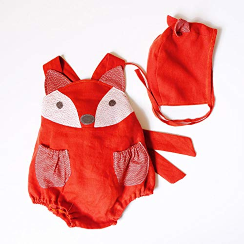 ajhgf Sleeveless Cute Infant Baby Boy&Girl Animal Vest Backless Romper Bodysuit+Hat Outfits (18-24 Months/100, Red)