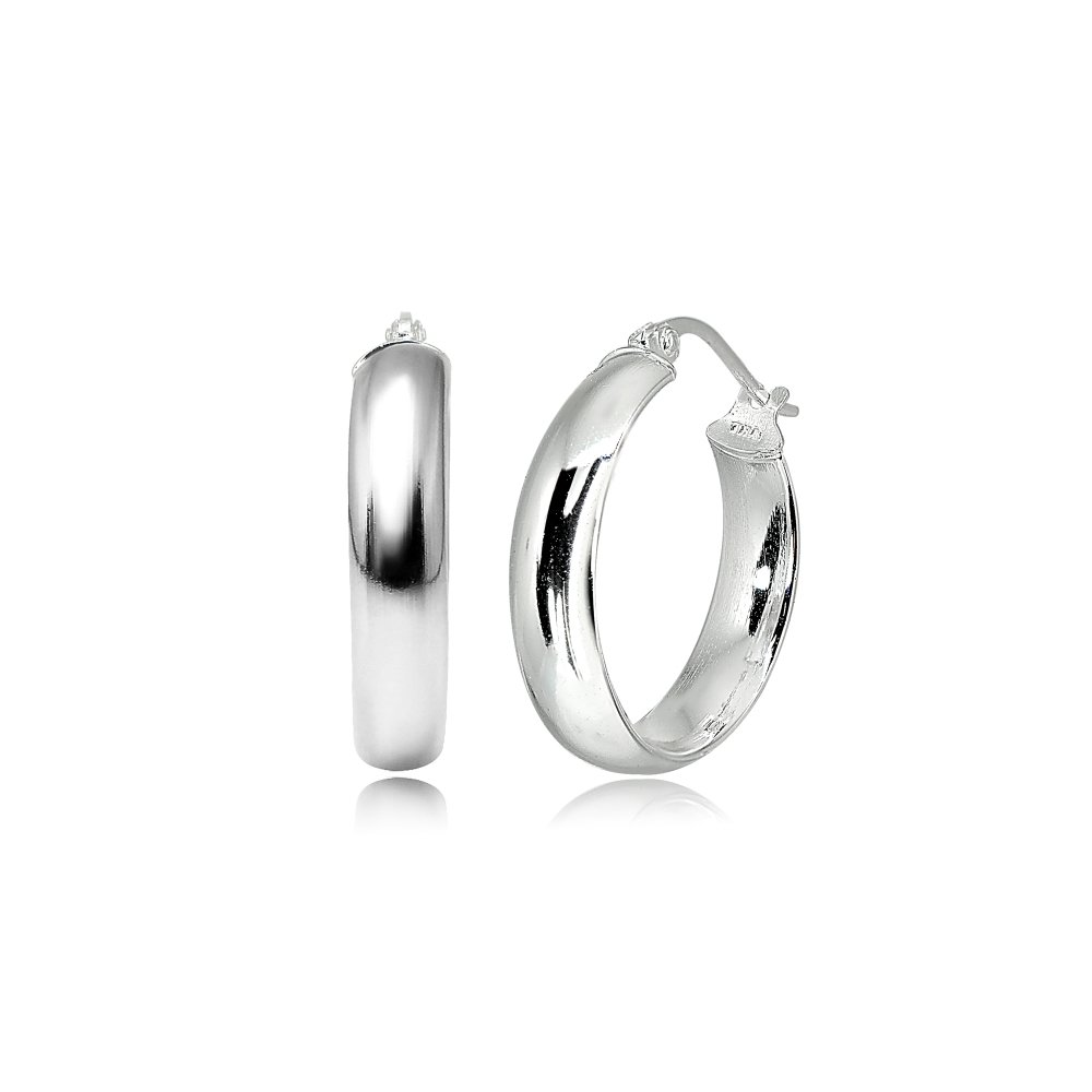 LOVVE Sterling Silver High Polished Half Round-Tube Click-Top Hoop Earrings, 5x20mm