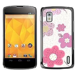 - Pink White Spring Print/ Duro Snap en el tel??fono celular de la cubierta - Cao - For LG Nexus 4 E960