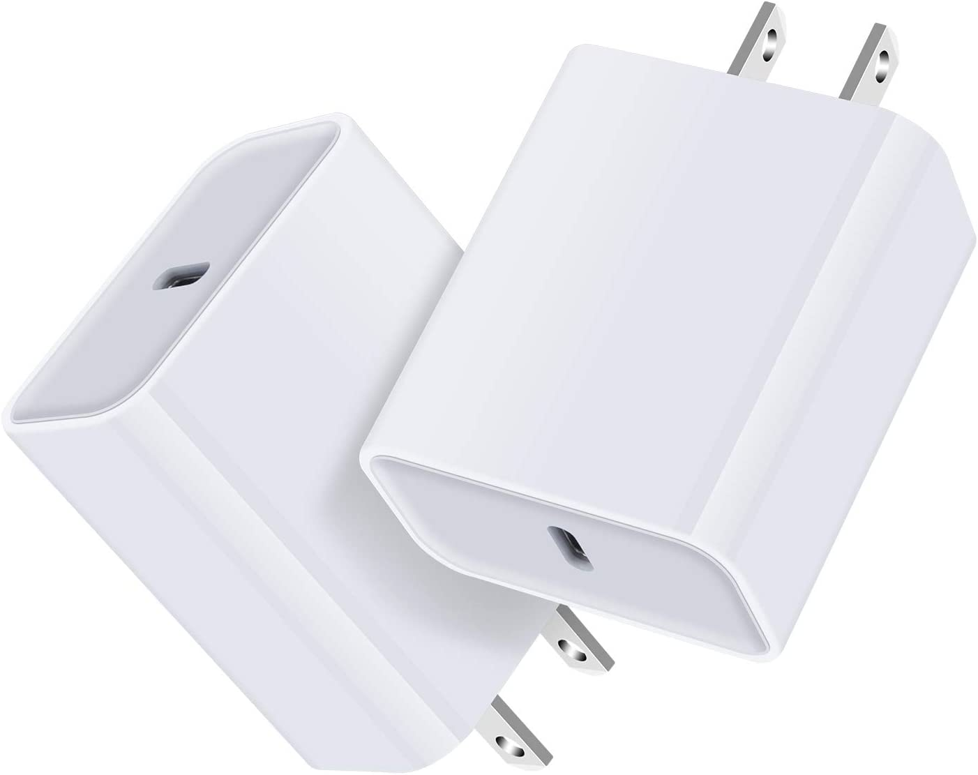 USBCCharger,18WPDPowerAdapter2PackUSBCBoxBlockBrickPlugFastChargingBaseCube for iPhone 12 Mini/11 Pro Max XR XS X SE 8 Plus Samsung Galaxy S20 10+ Note 20 Ultra Pixel