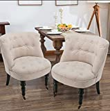 Mecor Tufted Fabric Dining Chairs Set of 2, European Style French Accent Chairs with Wheels, Living Room Sofa Beige