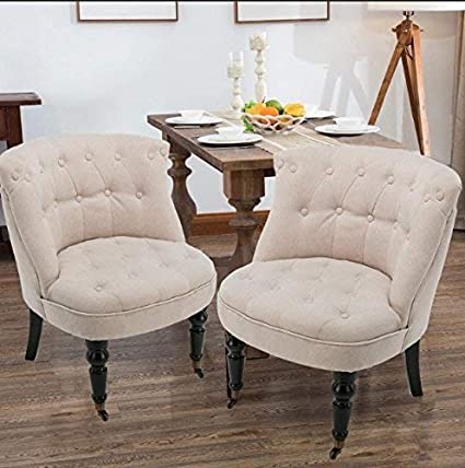 Mecor Tufted Fabric Accent Chair Set Of 2, European Style French Dining  Chairs Wheels,