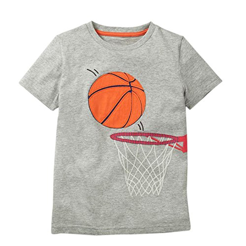 Jchen for 1-8 Years Summer Infant Baby Kids Little Boys Girls Short Sleeve Cartoon Basketball Print Casual T-Shirt Tops Tee (Age: 2-3 Years Old, Gray)]()