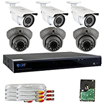 GW Security 8 Channel 5 in 1 XVR 6 x 4MP 1520P 2.8~12mm Lens Security System 2T HD