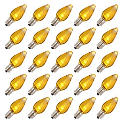 Vickerman 25879 - C7 Candelabra Screw Base Yellow LED Transparent (25 pack) Christmas Light Bulbs (XLEDT77)