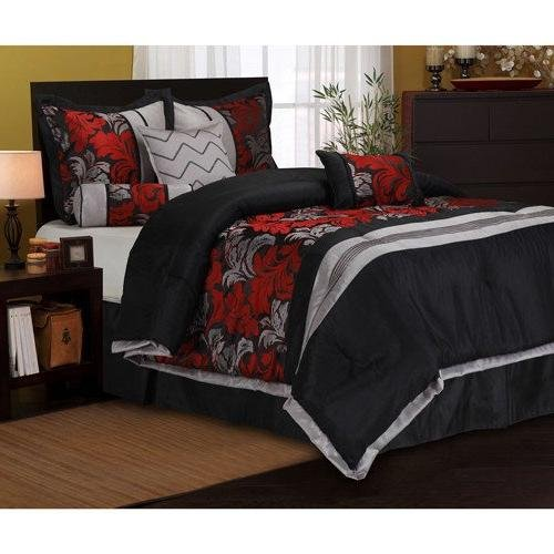 7pc Damask Leaf Pattern Comforter Queen Set, Vibrant Bold Colors Red Grey Black, Soft & Cozy, Modern Bedrooms, Stylish Luxurious Stripe Theme, Elegant HighClass Motif Scrollwork Design ()