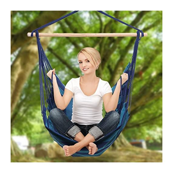 Meharbour Portable Hanging Rope Hammock Chair Porch Swing Seat for Any Indoor or Outdoor Spaces Max.265 Lbs. (color6) - ☆ Durable: This hanging rope chair is tightly woven with comfortable, long-lasting cotton thread, to ensure a quality hammock for an extended period. ☆ Portable: It is lightweight and easily portable. Can be enjoyed on different occasions and in many different locations. ☆ Over all Dimension: 39.4 x51.2 inches; Wood Pole Size: 39.0 x 1.2 inches (L x D); Weight Capacity: 265 lbs. - patio-furniture, patio, hammocks - 51ygr4y bsL. SS570  -