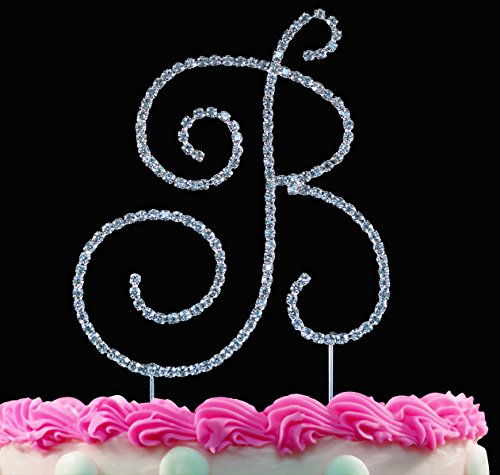 (Monogram Cake Toppers Sparkling Crystal Cake Topper Swirl Script Silver Letter by Yacanna (B))