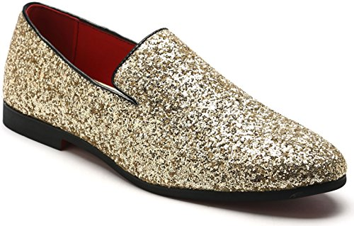 (Men's Slip On Loafer Shoes Metallic Sequins Nightclub Shoes Textured Glitter Loafers Luxury Wedding Shoes (6.5, Gold))