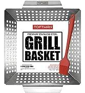 TOFTMAN Vegetable Grill Basket - Heavy Duty BBQ Pan - Grilling Wok Tray for Veggies, Shrimp, Kabo...