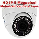 GW Security 5-Megapixel (2592 x 1920) 4X Optical Zoom Outdoor Indoor 1920P Security Dome PoE IP Camera with 2.8-12mm Varifocal Motorized Zoom Len and 36Pcs IR LED up to 100FT IR Night Vision