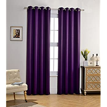 MYSKY HOME Solid Grommet Top Thermal Insulated Window Blackout Curtains For Bedroom 52 X 84