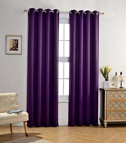 MYSKY HOME Solid Grommet top Thermal Insulated Window Blackout Curtains for Bedroom, 52 x 84 Inch, Royal Purple, 1 Panel