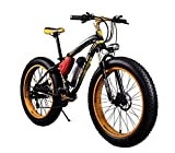 RICH BIT TP012 Electric Fat Bike Mountain Bicycle Snow Bike Cruiser Ebike 350W Motor 36V Lithium Battery Dual Brakes with Shimano 21 Speeds System 26'' 4.0 inch Fat Tire Suspension Fork YELLOW