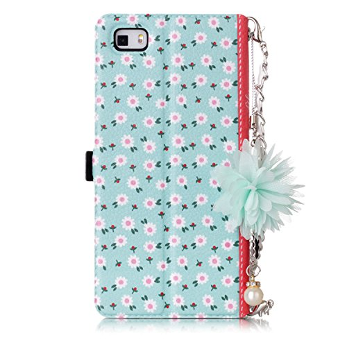 JuSha for Huawei P8 Lite Case PU Leather Wallet Magnetic Cover Skin (Daisy) hot sale