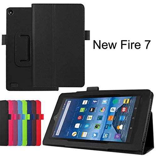 Photo - Amazon Fire 7 2015 Case, VL Premium Leather Folio Stand Slim Shell Case, Ultra Slim Lightweight Standing Cover for Amazon Fire 7 Tablet(7 inch Display - 2015 Release) (Black)